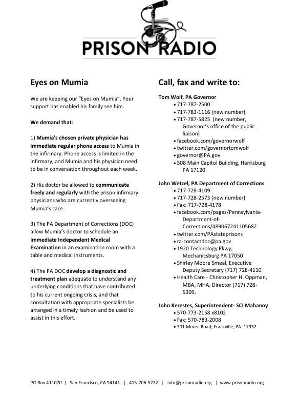 URGENT! URGENT! URGENT!   Condition Critical: Friday Report From Prison Mumia Gravely Ill  #MumiaMustLive http://t.co/U2BYWQyP0N