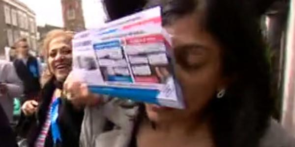 Tory councillor literally grinning with delight as she shoves leaflets into someone's face http://t.co/vqHwEiiJfq http://t.co/fF50MGt9FM