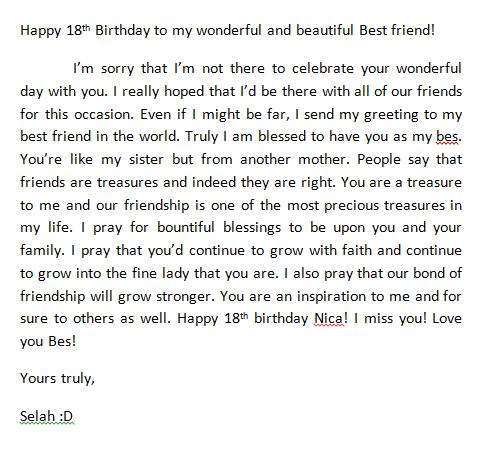 Selah Bañares On Twitter Message To My Dear Best Friend Happy