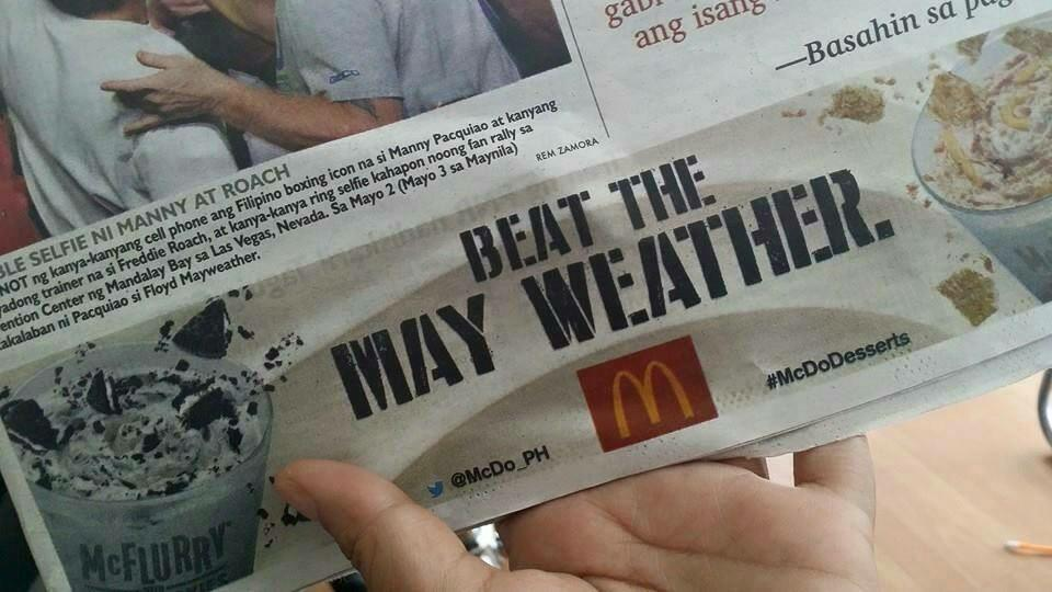 Love this McDonald's advert from the Philippines today! #TeamPacquiao http://t.co/3WFOZHsvvN