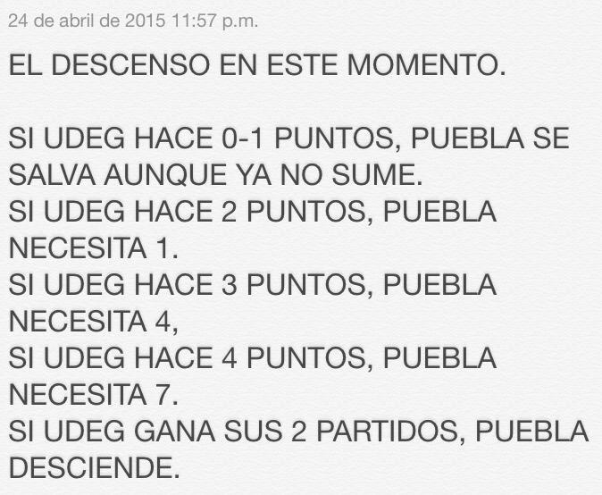 La lucha por no descender. @contracara68 @IntoleranciaID A UDEG le quedan 6 puntos por pelear. Al Puebla, 9. http://t.co/2T7e67XVt8
