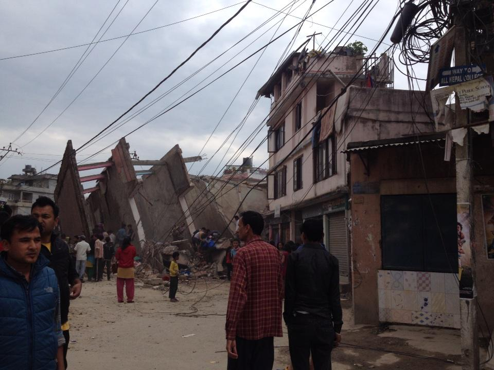 Terrible #earthquake in #Nepal. Just saved ourselves. Don't know how many killed. Roads are blocked already. http://t.co/qsxITz0n1P