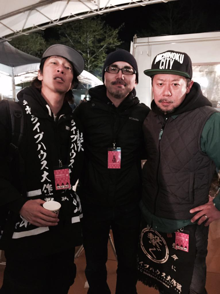 新宿、渋谷を代表するライブハウス、La.mama、LOFT(西新宿)のレジェンドPAの宗さん、明人さん。そして細美くん。 http://t.co/4dwdmc5Ndg