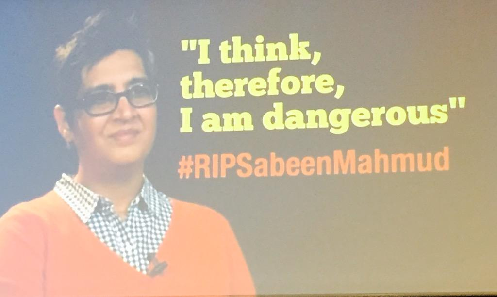 A moment of silence for #RIPSabeenMahmud but also a standing ovation for her life and activism #DefendingDefenders http://t.co/7mH9lR1Ae0