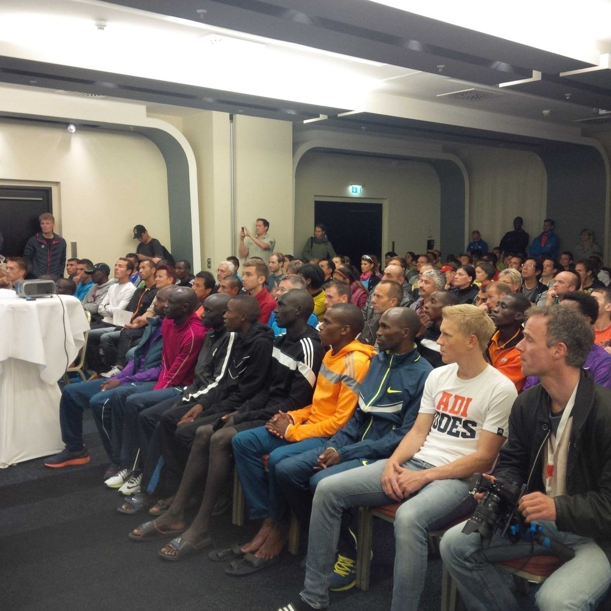 Elite athletes attending the technical meeting for #HaspaMarathon #RunHamburg @HaspaMarathonHH<br>http://pic.twitter.com/cI4vPyj8i9