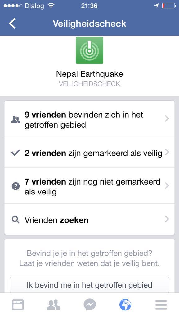 Facebook geeft veiligheidscheck weer voor de mensen in Nepal. Wat slim! http://t.co/WREE6wlR33