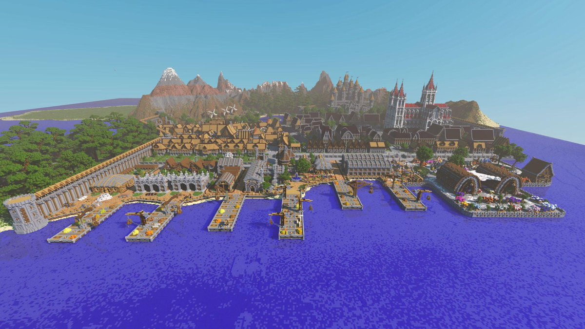 This is the massive port town we built for #FindThePieces aka @CaptainSparklez latest music video - http://t.co/KWFxx5vj6Y