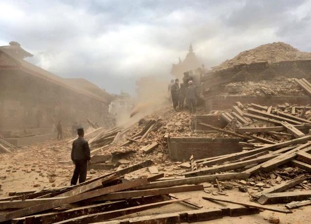 Still can't believe what I witnessed in #NepalQuake today. History crumbling, a nation in despair. http://t.co/sFcOj2vzVi