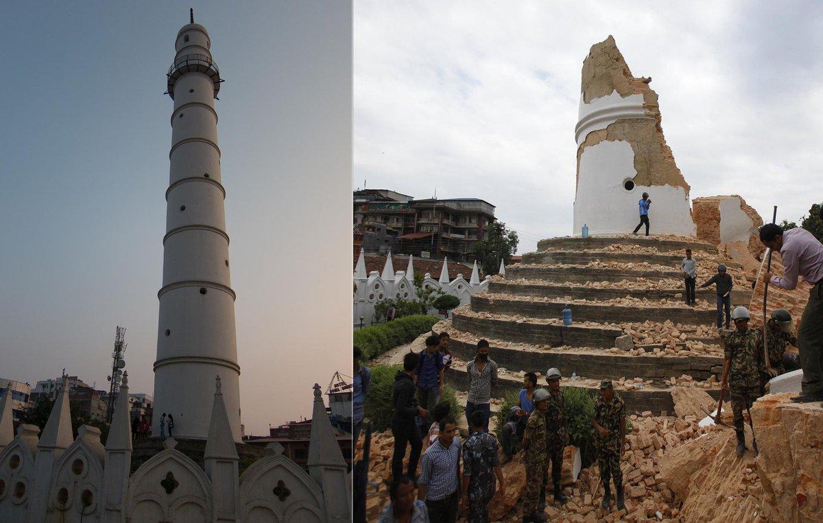 Nepal, la torre Dharahara patrimonio Unesco e' crollata