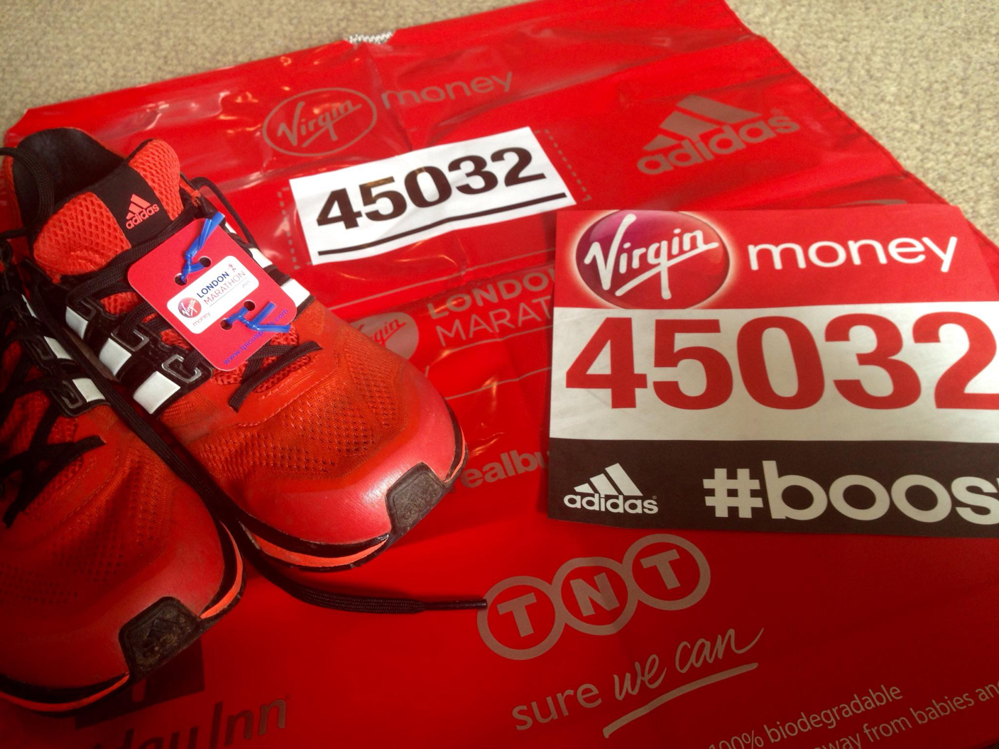 All set for the #LondonMarathon! Gutted I'm not on form :( @adidasUK http://t.co/ydPnHFtArm