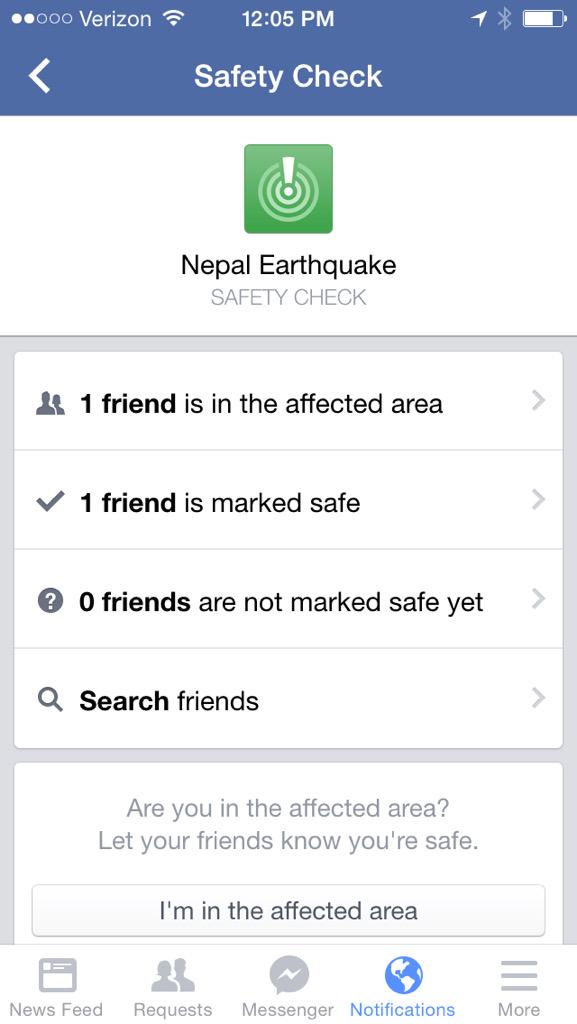 Impressed by @facebook's safety check — http://t.co/1hEB6KBhrR