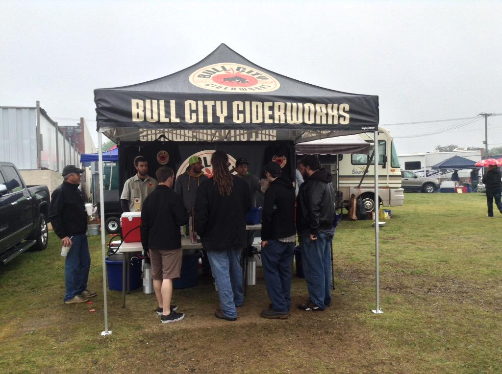 @MachaPanta: This morning at the BBQ Capital Cook-Off not even cold rain could keep people away from @bullcitycidery http://t.co/G4X3nqcwfc