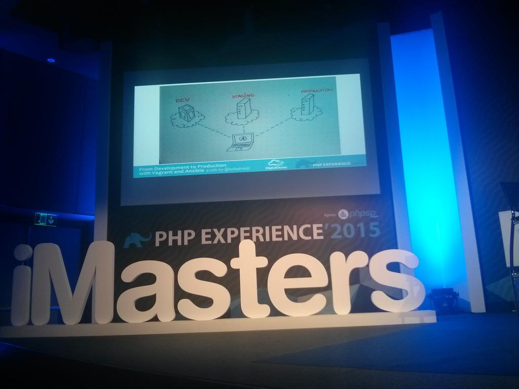 From development to production with Vagrant and Ansible. #phpexperience http://t.co/wU3rd9el4H