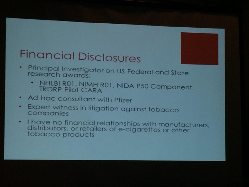Disclosures of Dr Prochaska at #ecig #ahcj15 panel http://t.co/FGe5jHplu0