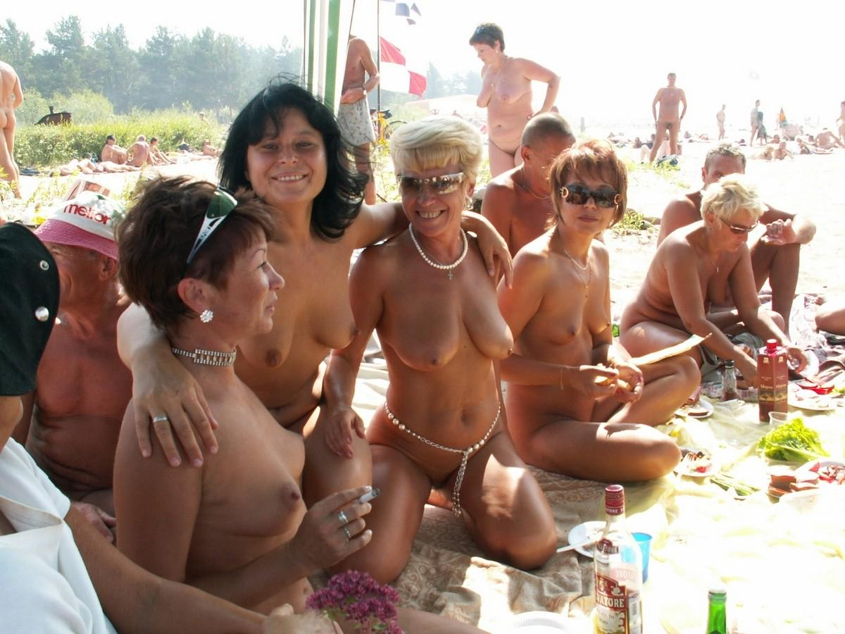 Nude beach house party
