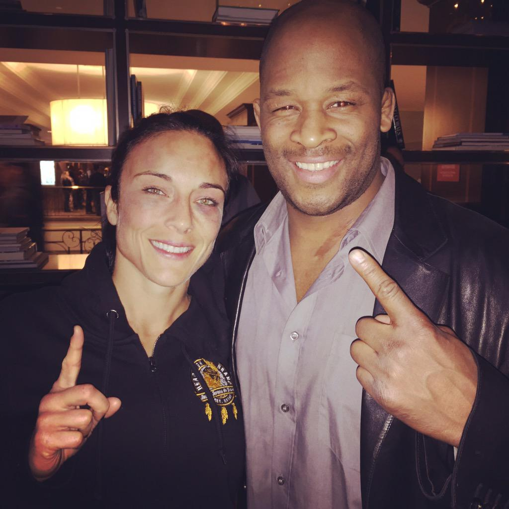 1st male and female French Canadian fighters to compete in the #UFC ! Congrats @ValTroubleMMA !!!   #UFC186 http://t.co/CXRWfYU1WG
