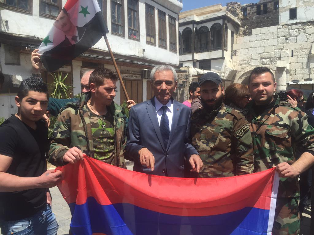 Fresh from the front line in Aleppo - Armenian Christians fighting with the Syrian Arab Army http://t.co/x3ueiNlsO2