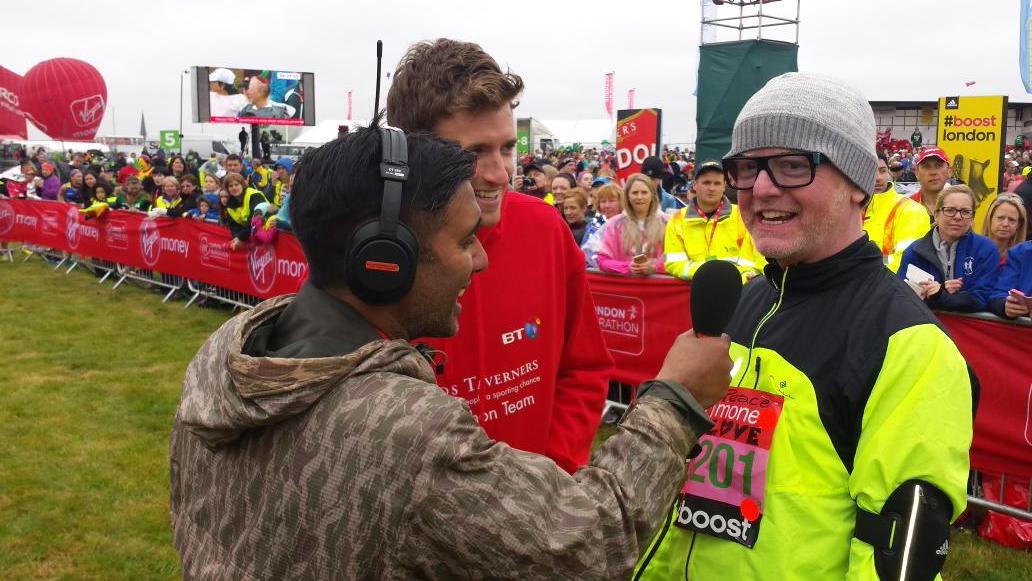 Good luck @gregjames and @ChrisEvans @bbc5live #LondonMarathon http://t.co/pBwtj0DhXj