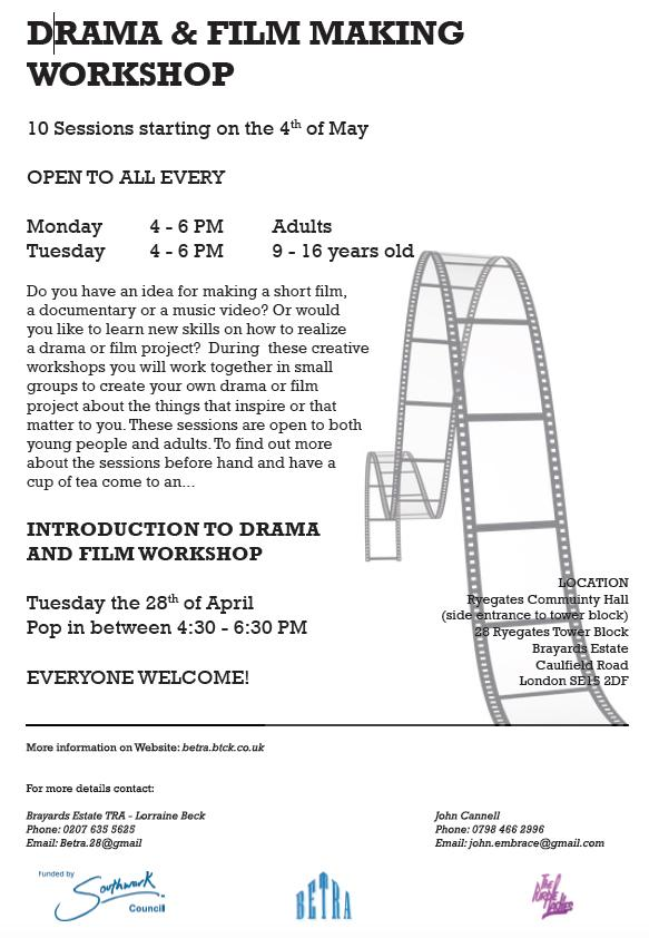 Tues 28 April Free Intro 2 Drama & Film Workshop Pop in 4.30-6.30pm Everyone Welcome Peckham http://t.co/AVbd5FHnC7 http://t.co/ZeAD2KRtqo