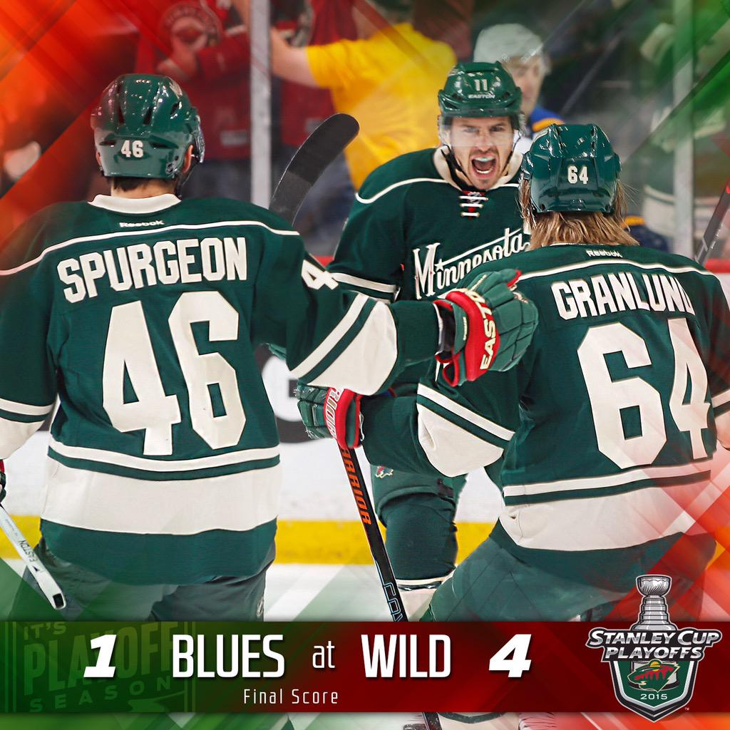 #mnwild wins 4-1!!! Minnesota takes the #STLvsMIN series! Up next: Chicago. #DontStopBelievin http://t.co/m8R70ICXxK
