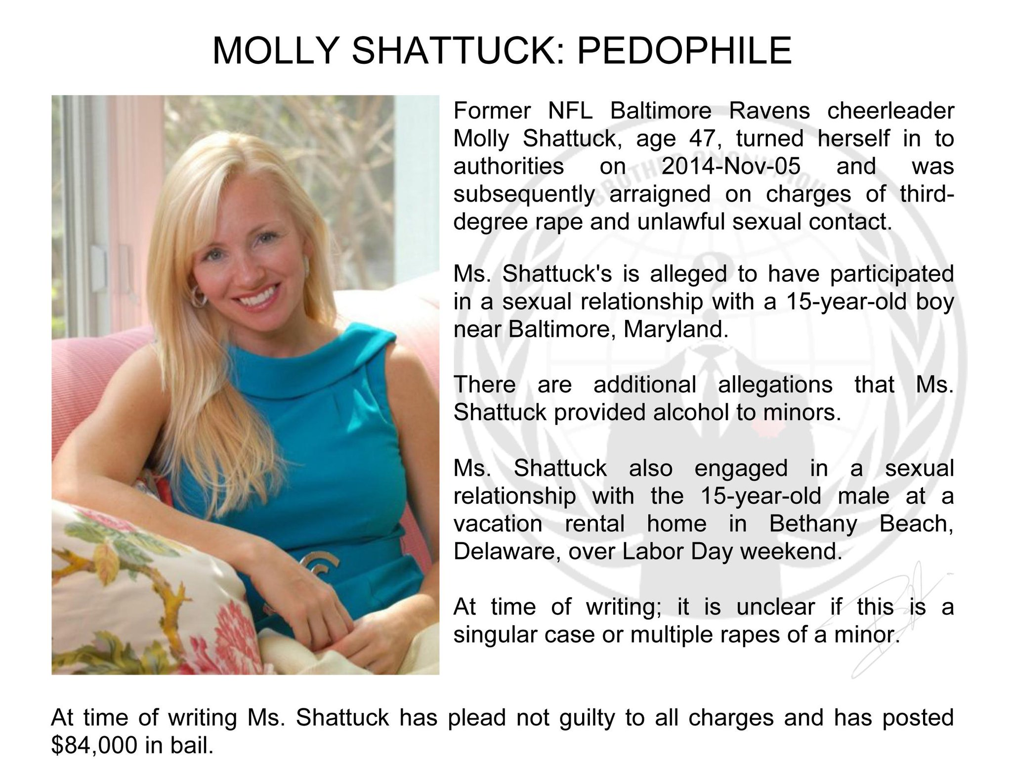 Brother Anonymous On Twitter Former Nfl Cheerleader Molly Shattuck Repeatedly Raped 15 Year Old Boy Convicted Pedophile Paedophile Http T Co Wlojzzjtak