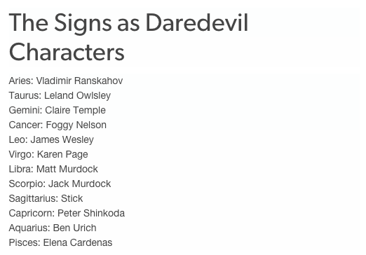 """Books & Horoscopes On Twitter """"the Signs As Daredevil. Adolescent Depression Signs Of Stroke. Blue Kitchen Signs. Captain America Signs Of Stroke. Pbis Signs. Immunology Signs. Parallel Signs. Gfcf Diet Signs. May 1 Signs Of Stroke"""