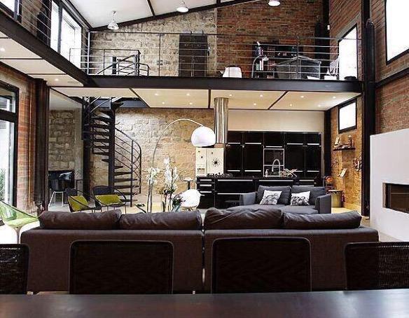 Billionaires on twitter two story exposed brick loft - Deco loft new yorkais ...