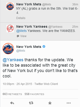 Yankees and Mets are throwing down on Twitter right now! http://t.co/Y4FkpNag4U