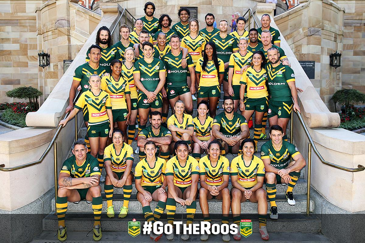 Your @Kangaroos and @AusJillaroos Team Photo!   #GoTheRoos #RoosKiwis http://t.co/3GvG3Q052B