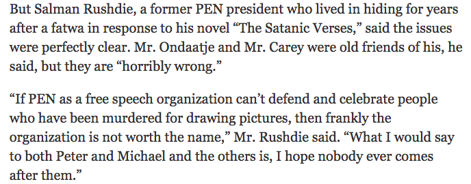 As @SalmanRushdie puts it on the boycott of the @PENamerican gala by six authors: http://t.co/UHFYaL2Anu