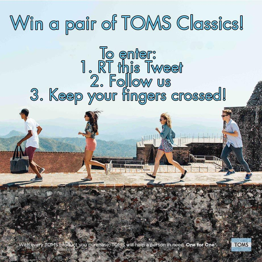 #COMPETITION time! Follow and RT this tweet to win a pair of @TOMS classics. Ends midnight, Monday 4th May. #compers http://t.co/bM6zWn7bcq