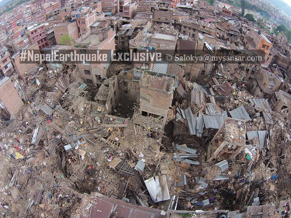 First drone image of Bhaktapur #Exclusive #NepalQuake #NepalEarthquake http://t.co/gOuW8La9ly
