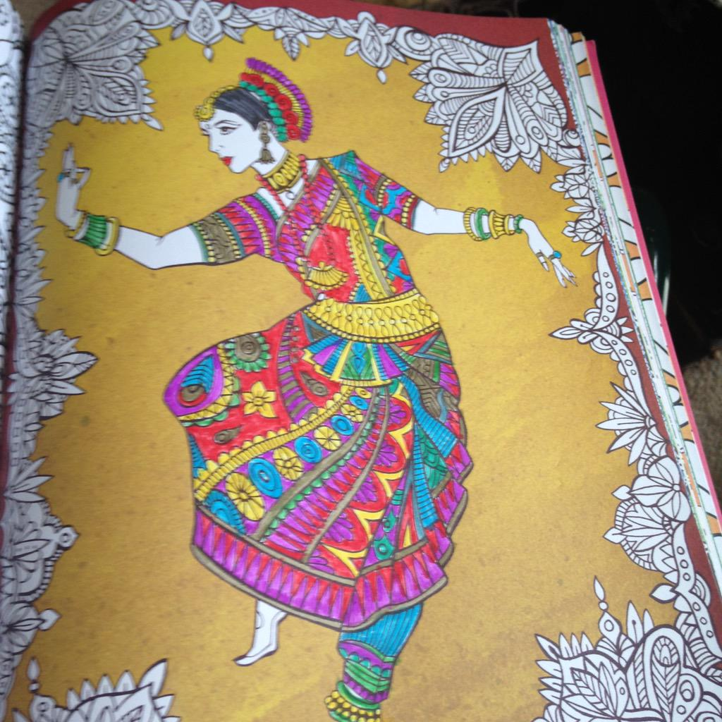 Michael OMara Books On Twitter Beautiful RT Hedgegirl Indian Dancer Colouring Image From Creative Therapy An Anti Stress Book