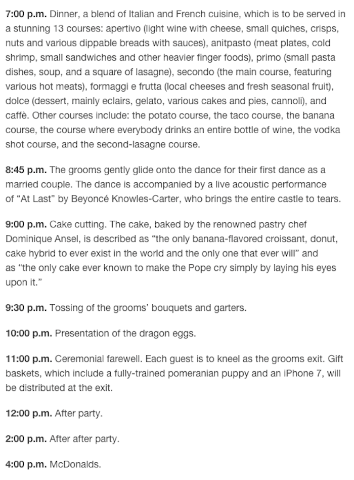 Matt Bellassai On Twitter Finally Ready To Reveal The Details Of Mine And Harry Styles Wedding Here Is Our Very Specific Itinerary