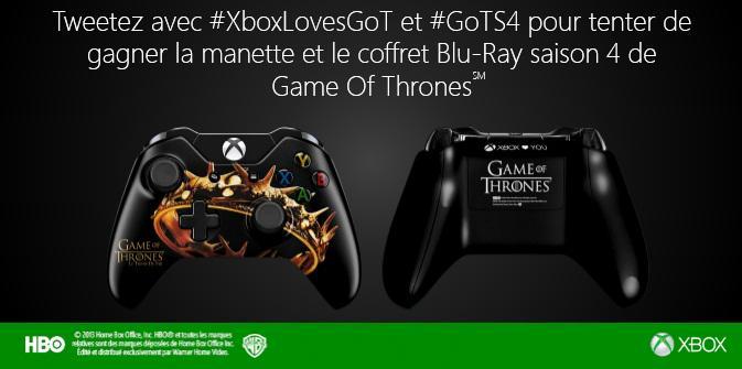 Tweetez #XboxLovesGoT et #GoTS4 et tentez de gagner une manette collector + coffret blu-ray S4 de #GoT @XboxFR