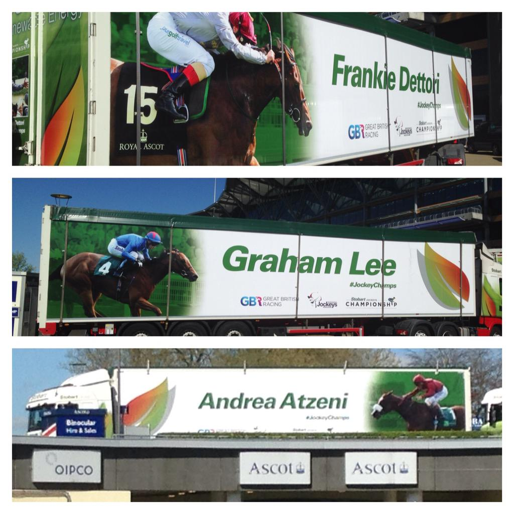 A fleet of 10 @StobartGroup trailers showcasing our top jockeys! Will be unmissable on Britain's motorways. http://t.co/V0ah4H86cQ