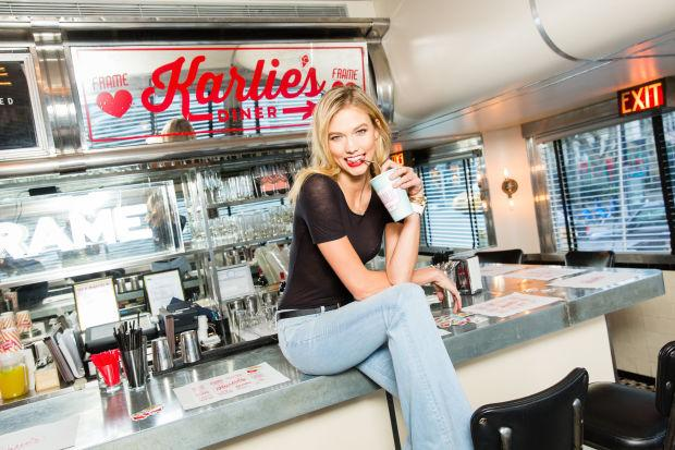 """Friends of @karliekloss & @Frame_Denim gathered at """"Karlie's Diner"""" on Friday night: http://t.co/6NJyvhyL4q http://t.co/aSxrwIaYJ4"""