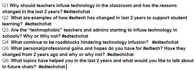 The questions for tonight's #edtechchat :) http://t.co/Pad4mAa71e