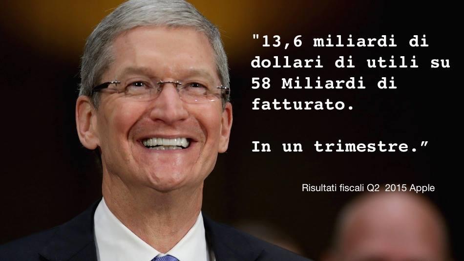 Fatturato trimestrale di 58 miliardi di dollari e utile netto trimestrale di 13,6 miliardi di dollari