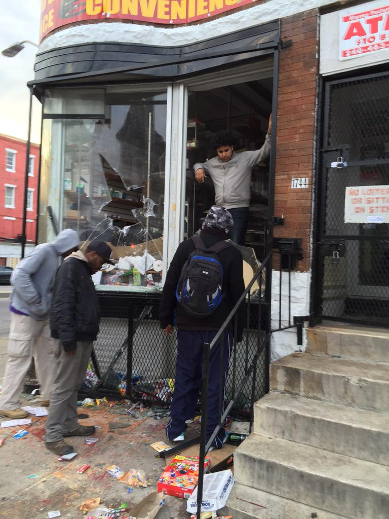 Man stands in front of his looted store in Baltimore. Rioters stole everything inside. @nbcwashington @msnbc http://t.co/qQqo84NB0c
