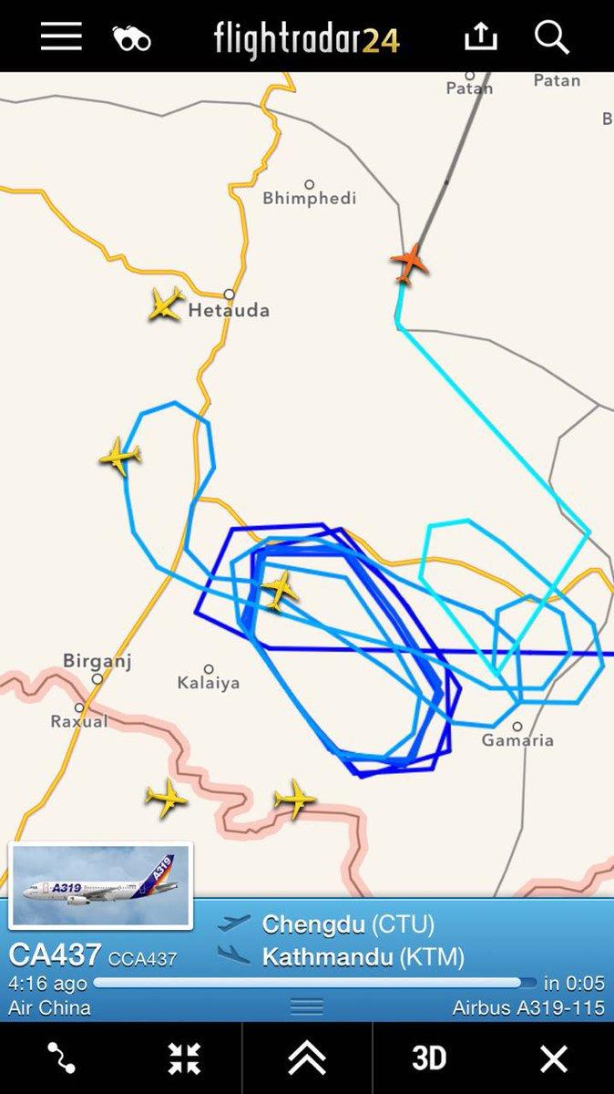 国航CA437 也在加德满都上空绕了好多圈啊,不过看显示应该排到位置降落了。应该又可以带一波人回国了! http://t.co/2k4UOCB2Uz