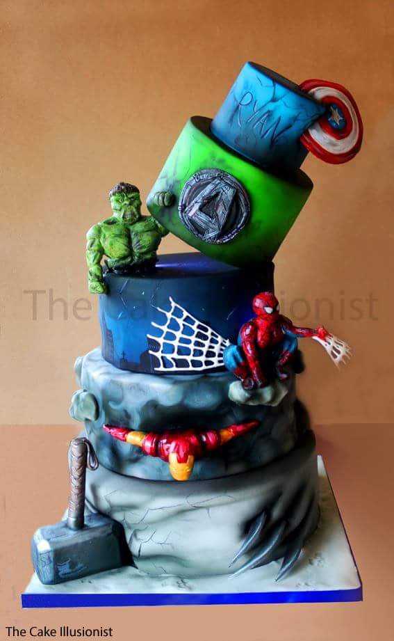 The Cake Illusionist on Twitter 5 tier superhero birthday cake