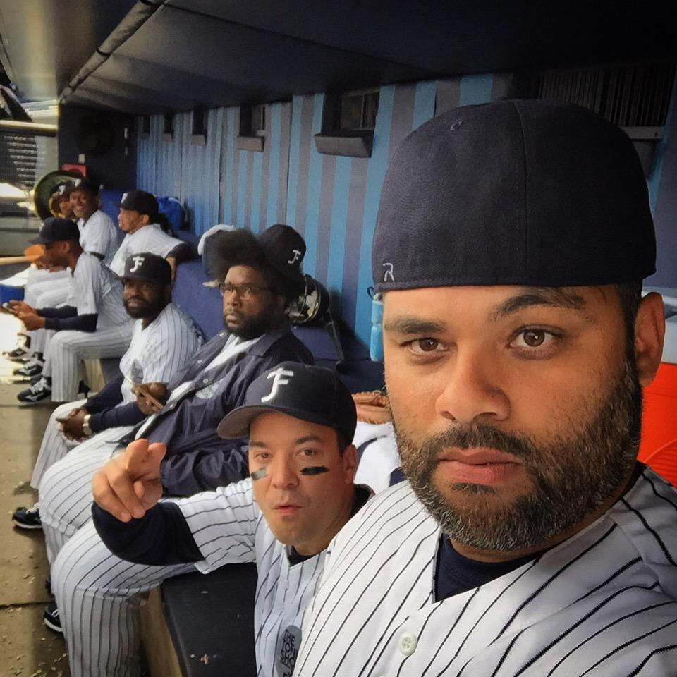 Kickin it spittin some seeds and stuff at Yankees stadium! @jimmyfaIlon @questlove @higbones @FallonTonight so cool! http://t.co/q5znKup5U0