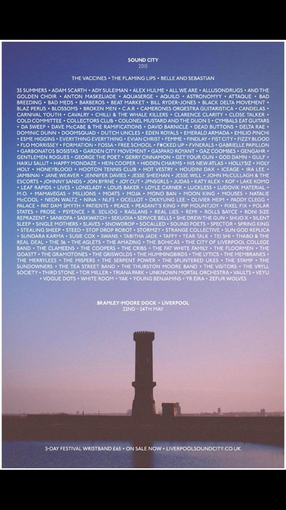 Just look at this line up !!! @SoundCity http://t.co/6G53jGVmbz