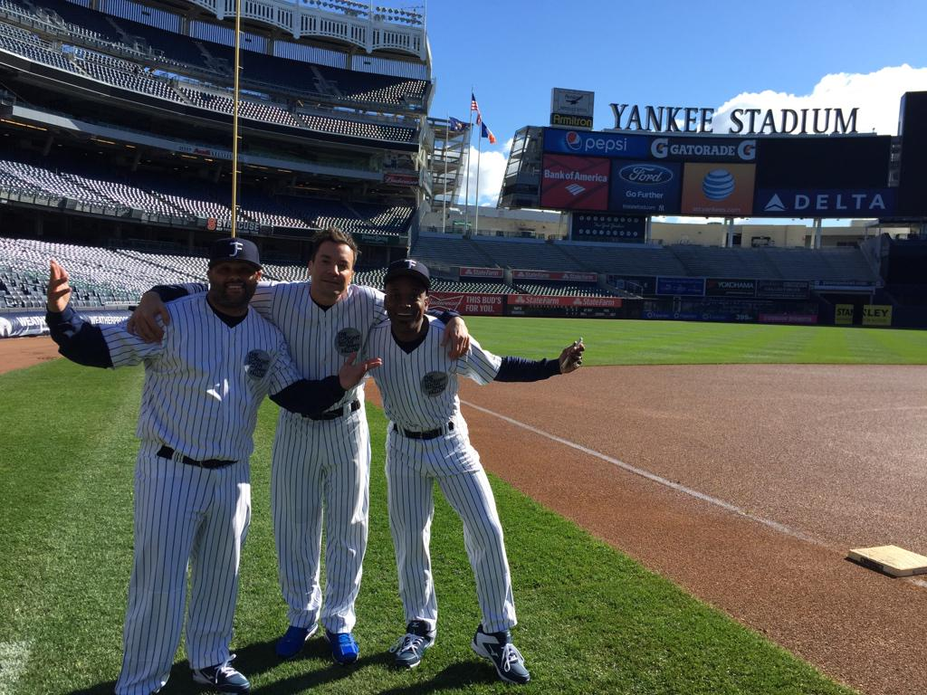 Thank you @Yankees for letting us film a fun commercial for the Tonight Show! #FallonTonight #NewYork http://t.co/nNaY1Z5BzV