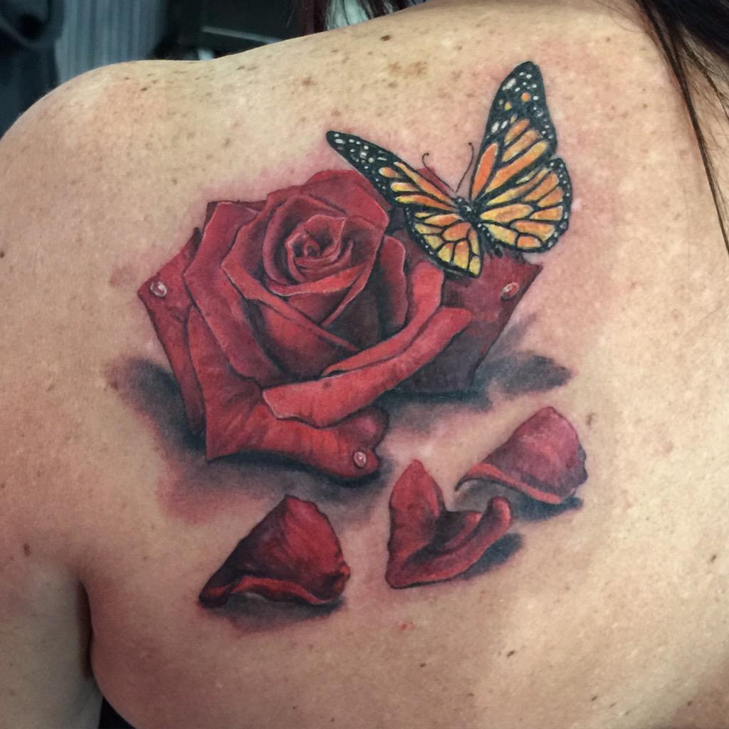 Joey hamilton on twitter lisaluvmyheelz rose butterfly for Butterfly memorial tattoos