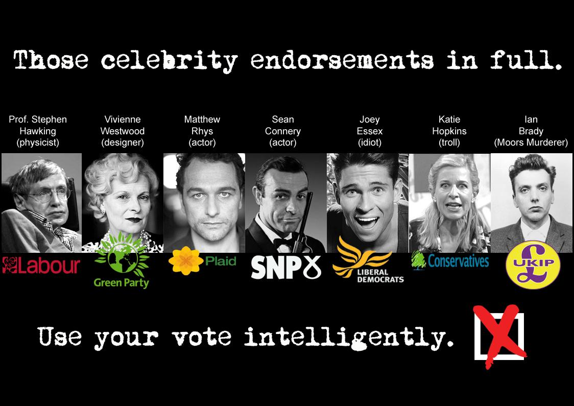 Election 2015: those celebrity endorsements in full. http://t.co/IPoAjsTeMA
