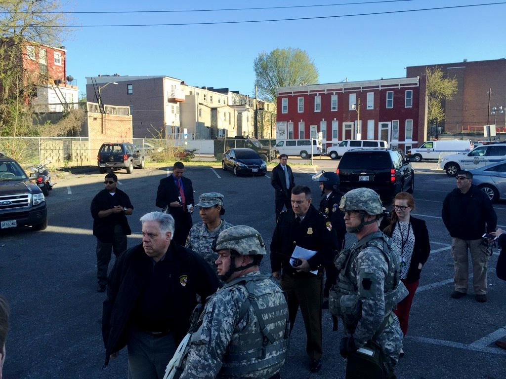 Hundreds of @USNationalGuard troops on duty in Baltimore this morning. Thousands more available and on the way. http://t.co/DAIsL6NQ5P