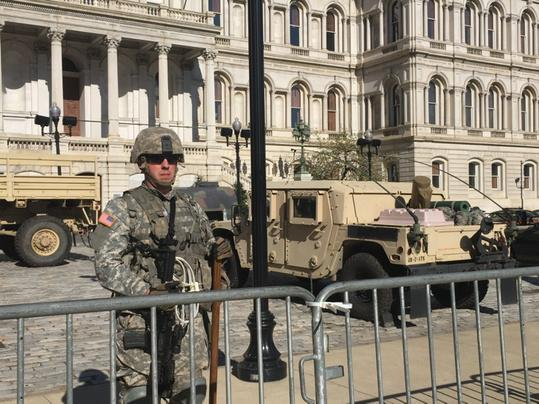 RT @EamonJavers: Baltimore City Hall this morning. http://t.co/ljUYbsEJdM