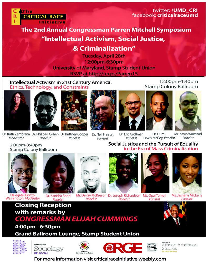 Excited to be at @UofMaryland for @UMD_CRI #parren15 symposium! So many important panelists. http://t.co/ScRoZlfxBl